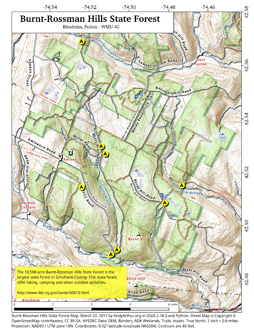 Map: Burnt-Rossman Hills State Forest