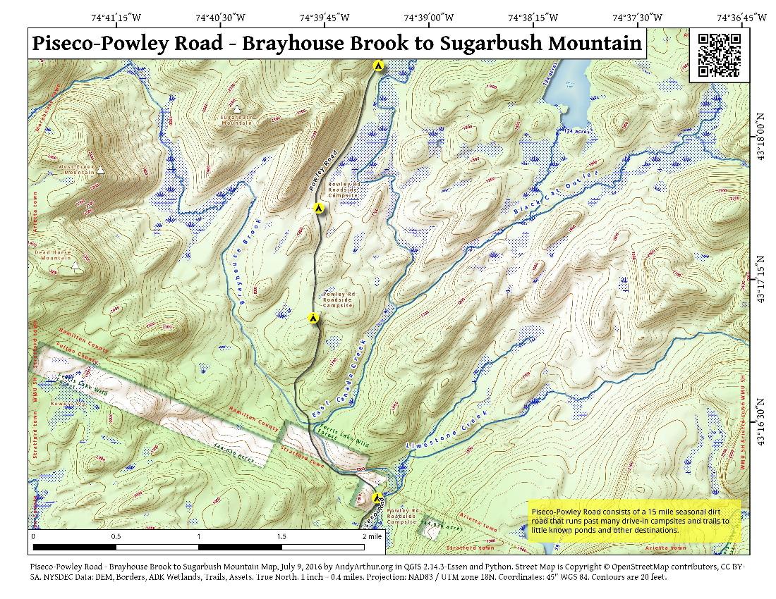 Map: Piseco-Powley Road – Brayhouse Brook to Sugarbush Mountain