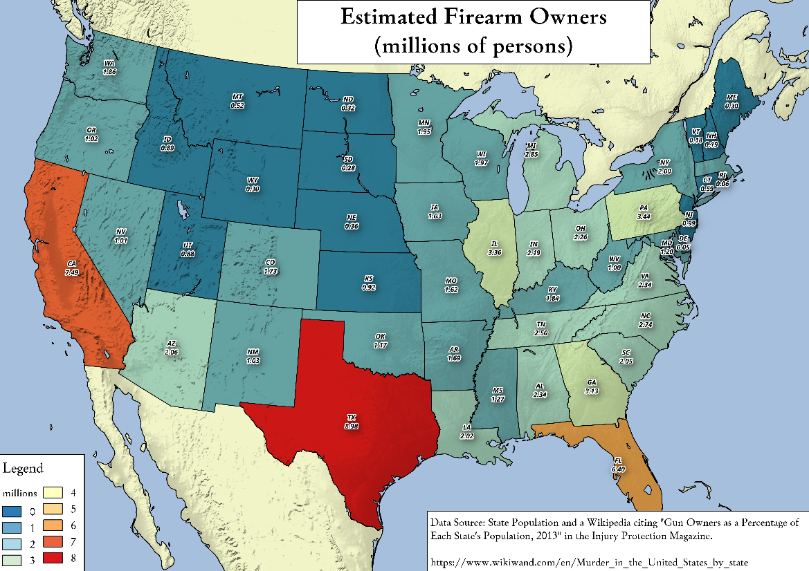 Map: Estimated Firearm Ownership In Millions