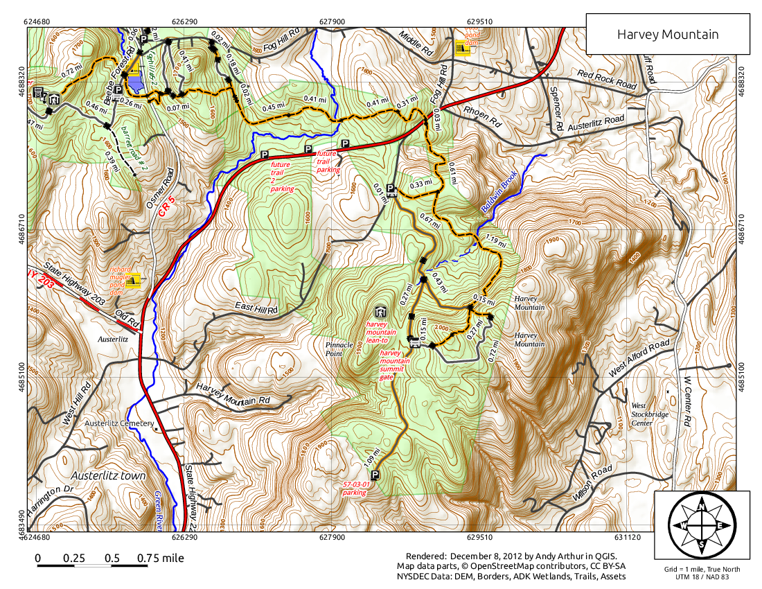 Map: Harvey Mountain