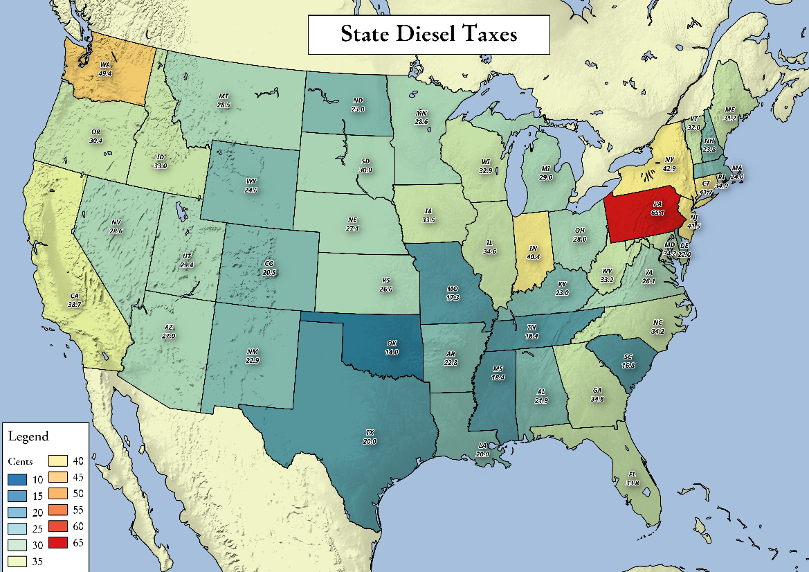 Map: State Diesel Taxes