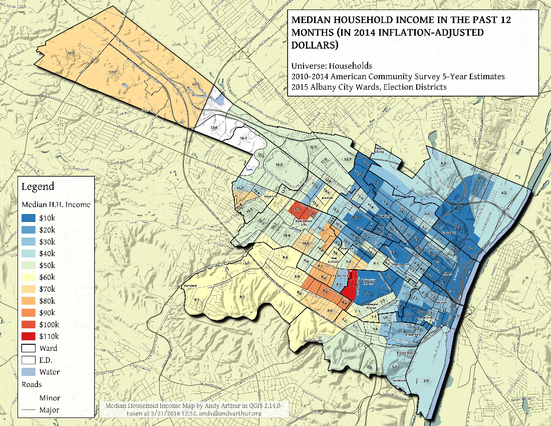 Map: Albany – Median Household Income