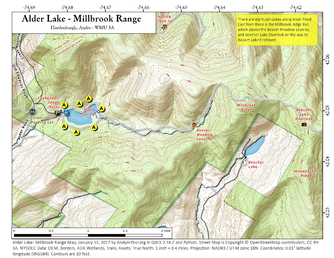 Map: Alder Lake – Millbrook Range