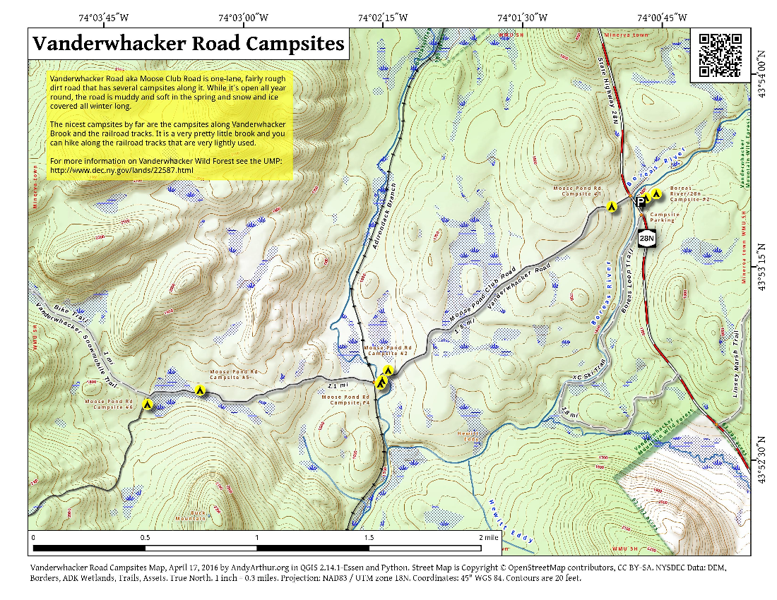 Map: Vanderwhacker Road Campsites