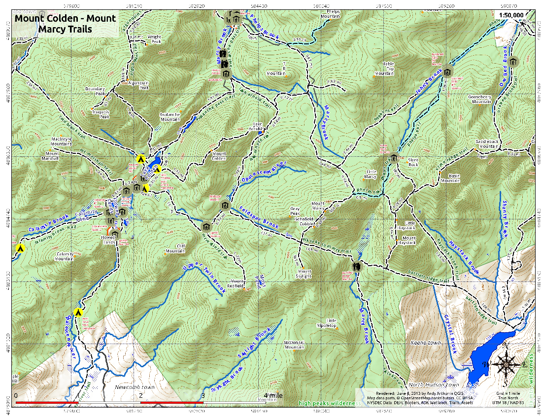 New york essex county keene - Map Mount Colden And Mount Marcy Trails