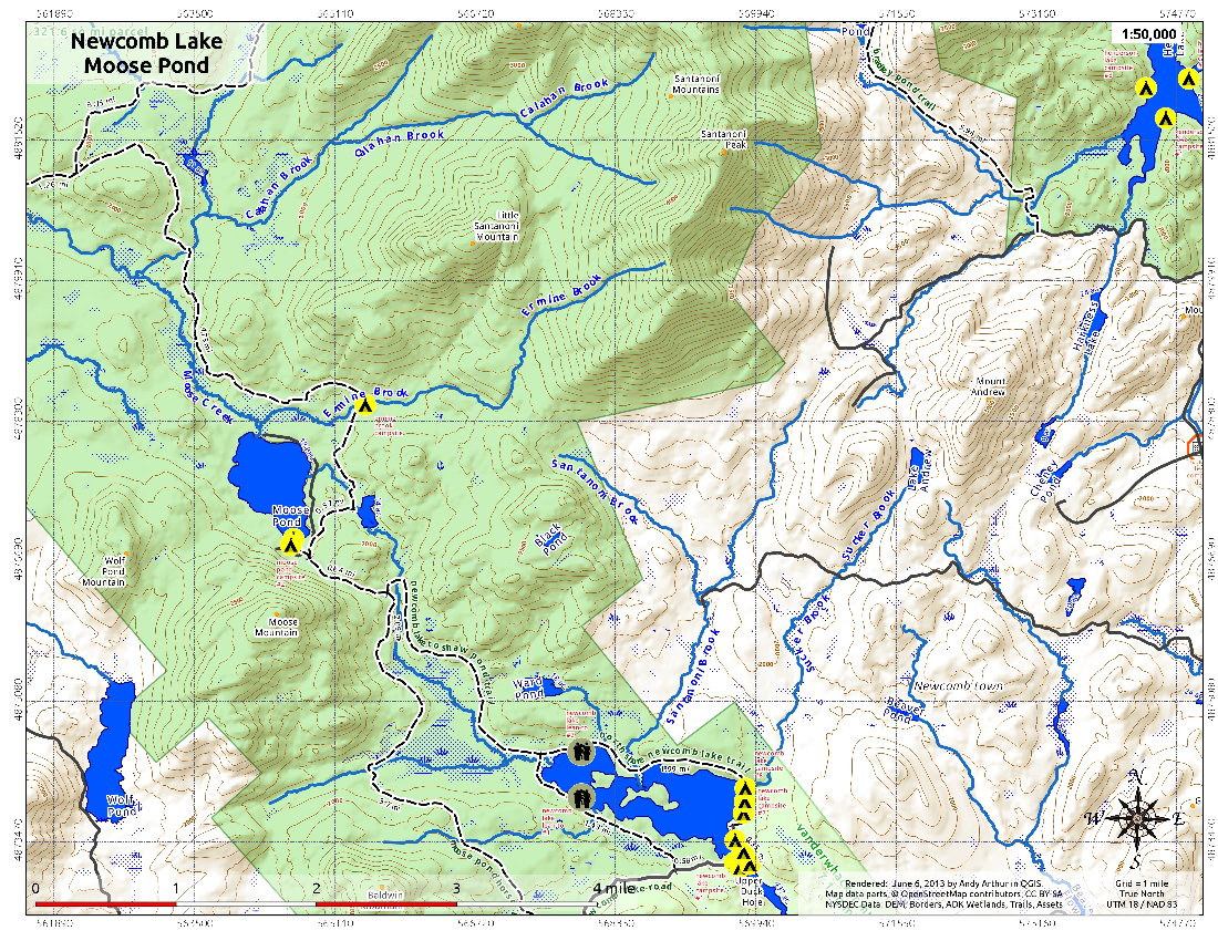 Map: Newcomb Lake and Moose Pond