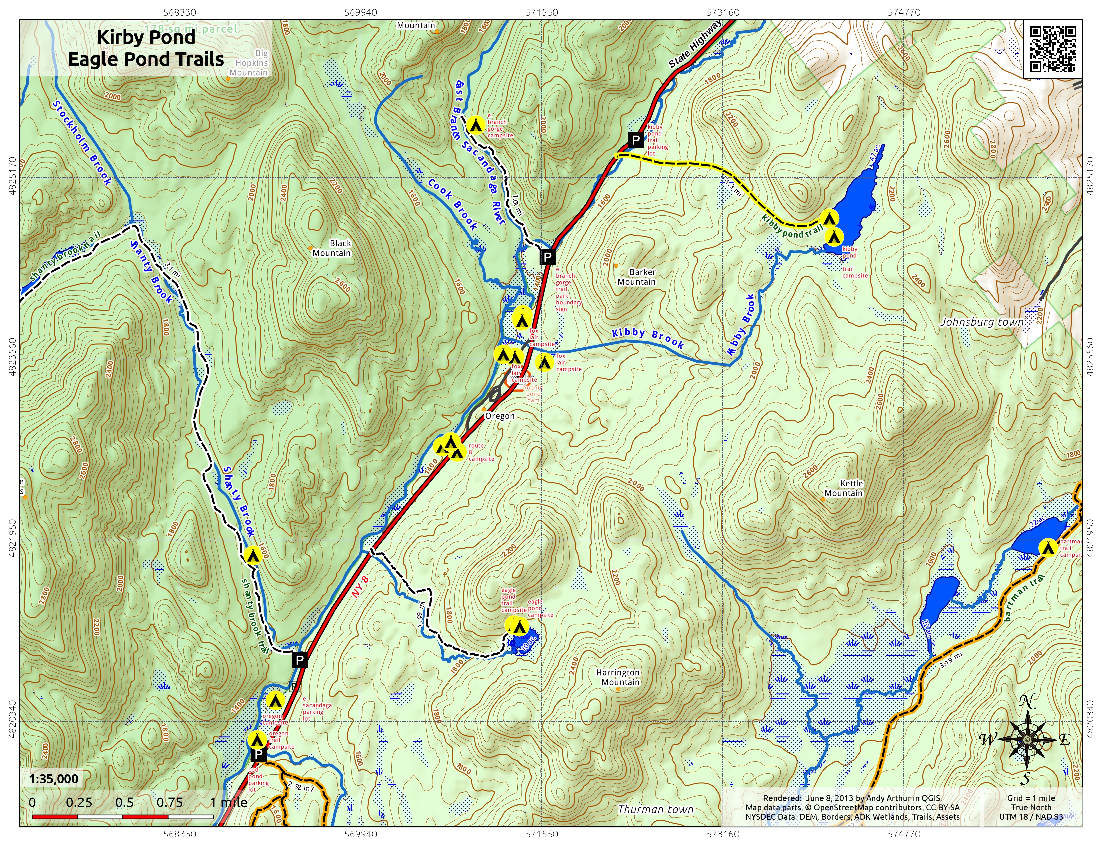 Map: Kirby Pond Eagle Pond Trails