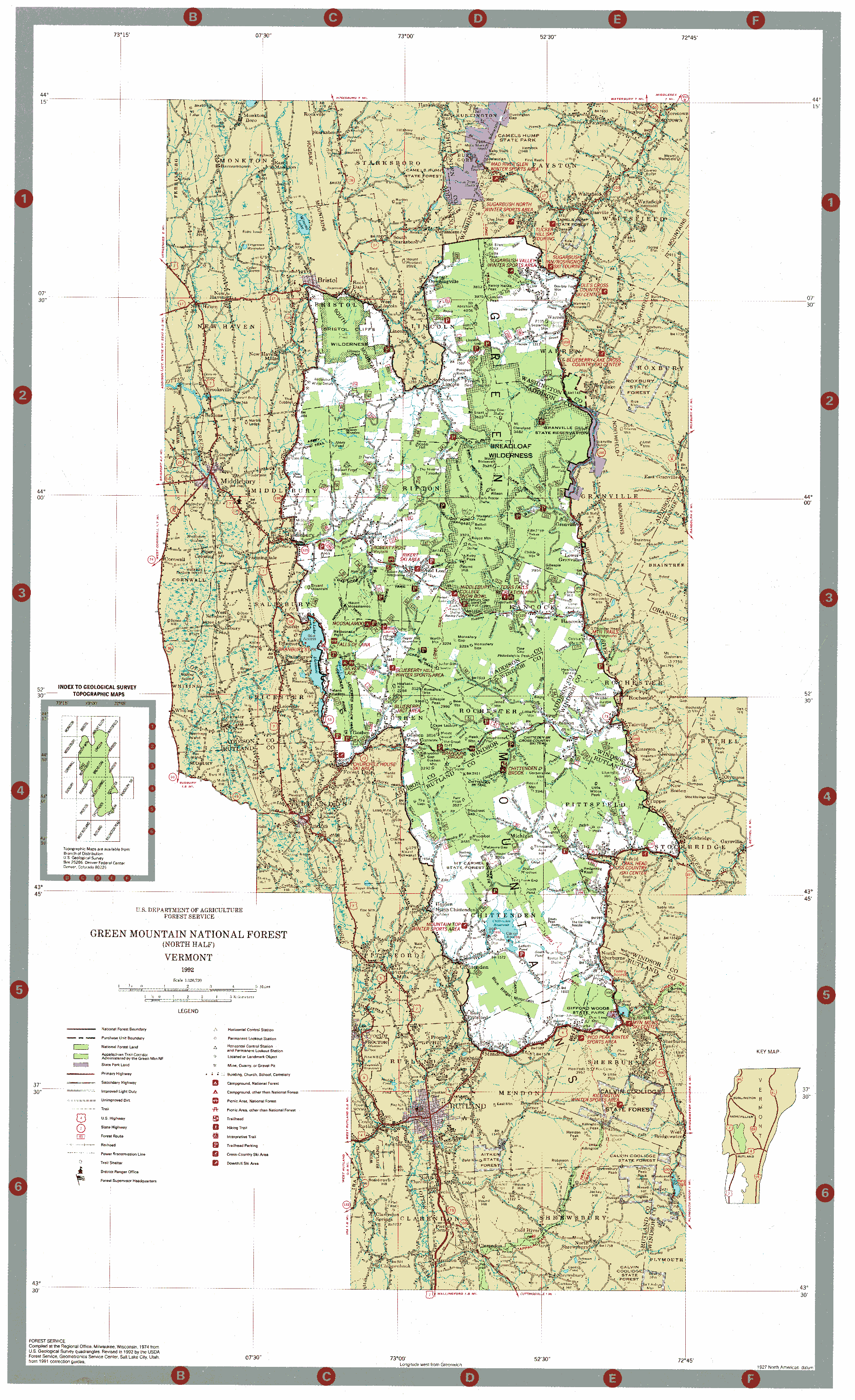Map Green Mountain National Forest North  Andy Arthur