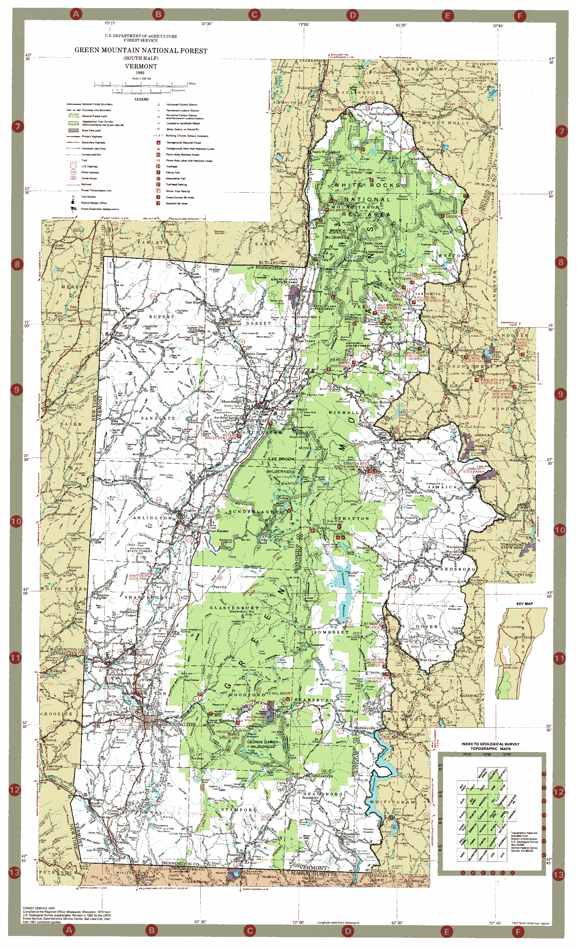 Map Green Mountain National Forest South  Andy Arthur