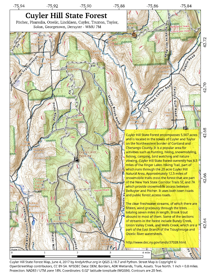 Map: Cuyler Hill State Forest