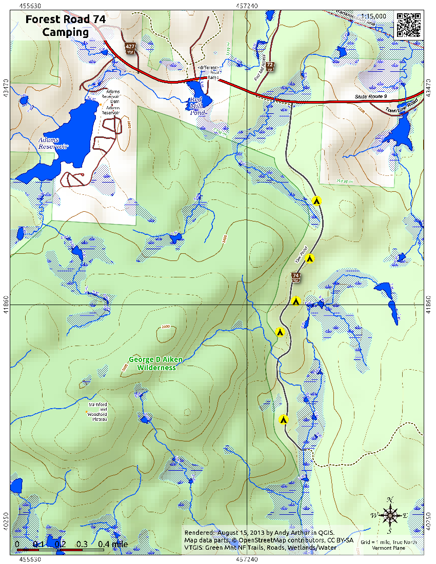 Map: Green Mnt NF Forest Road 74 Camping