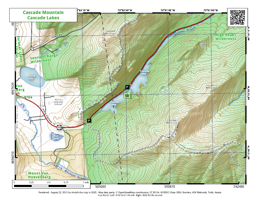 Map: Cascade Lakes and Cascade Mountain