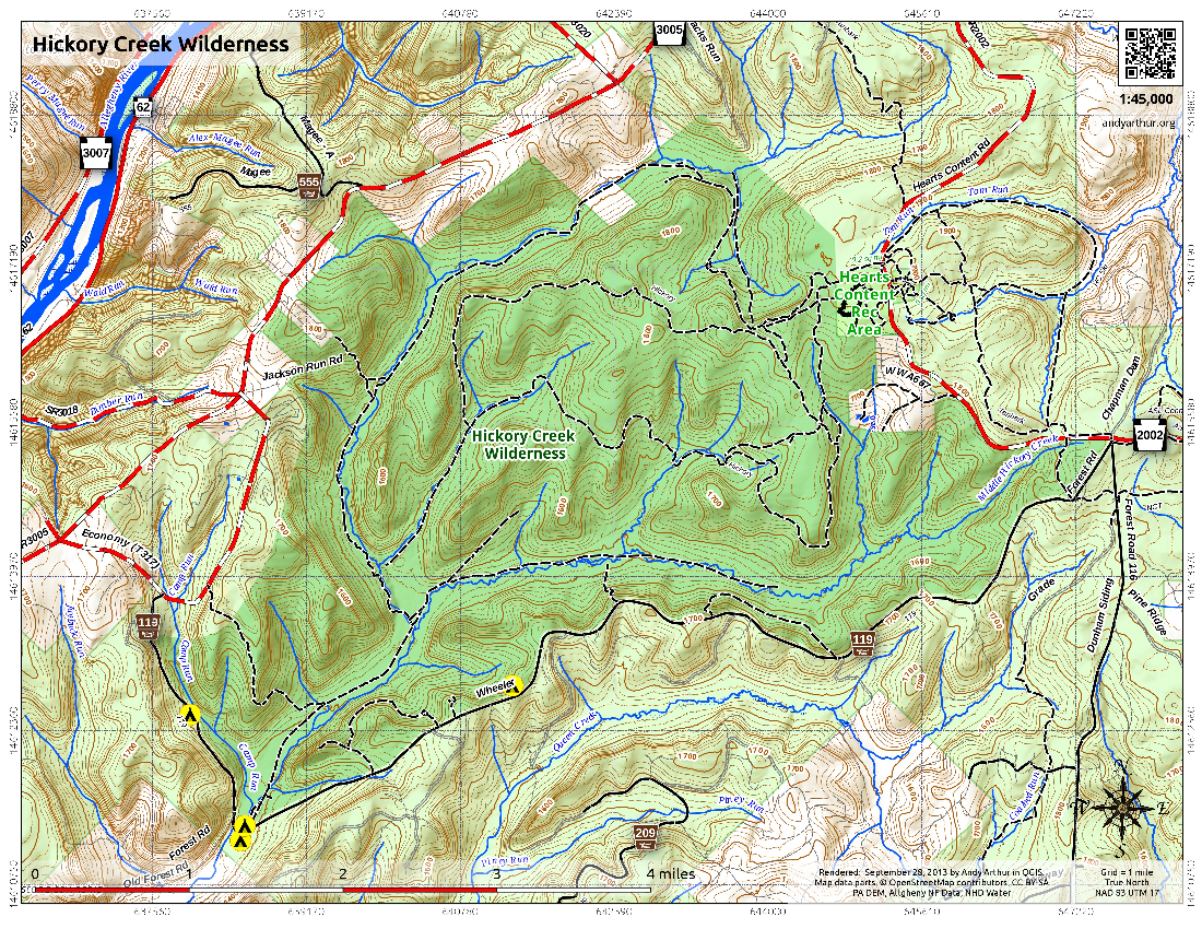 Map: Hickory Creek Wilderness