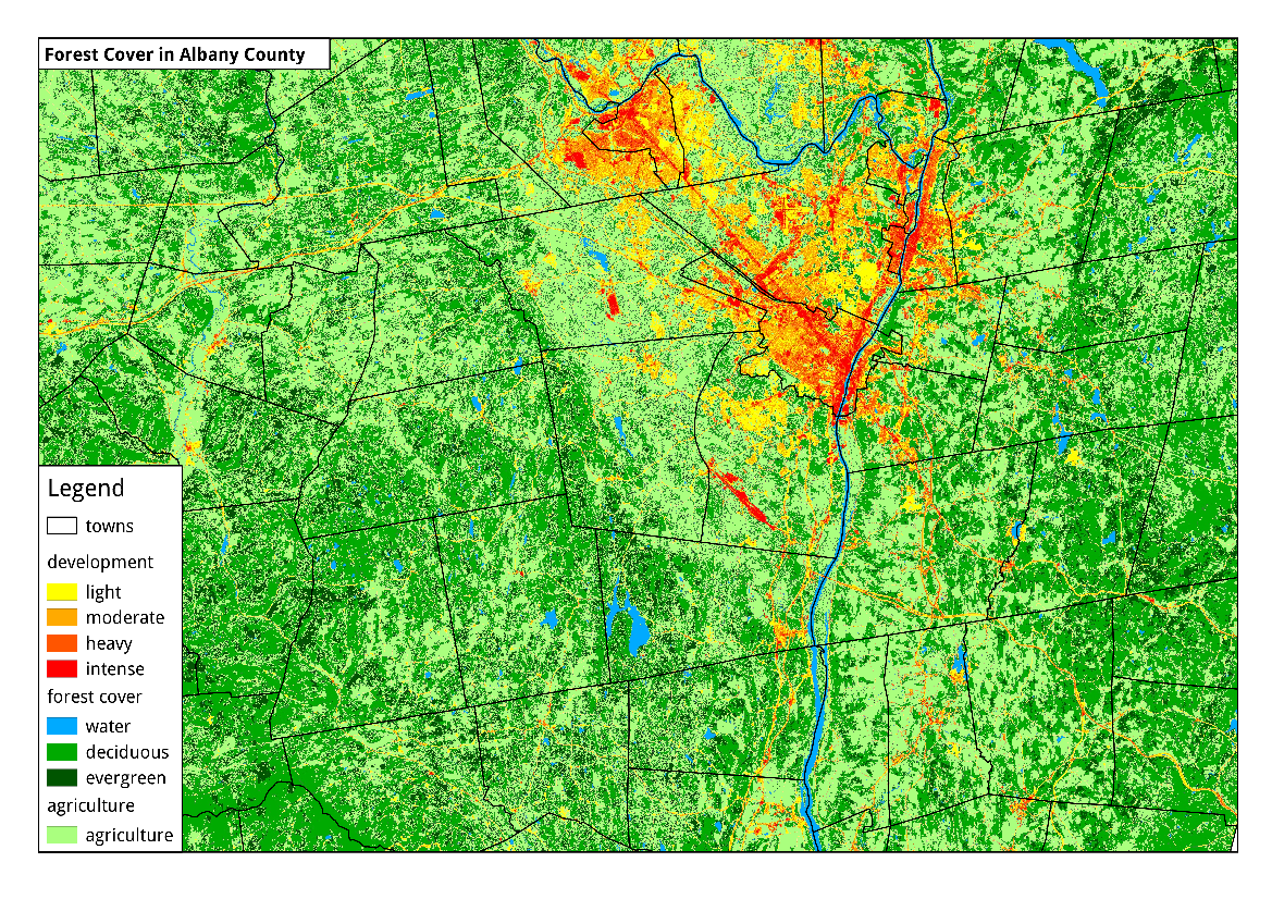 Map: Tree Cover in Albany Area