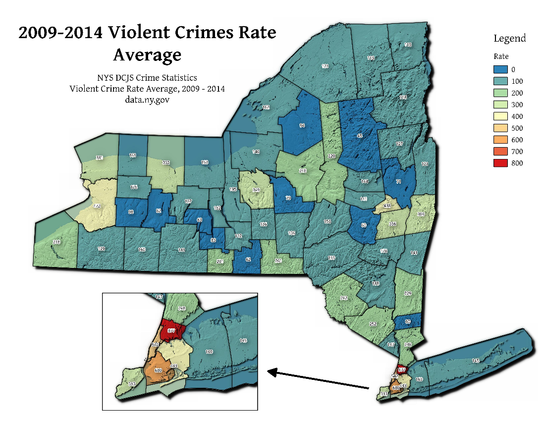 Map: 2009 2014 Violent Crimes Rate Average