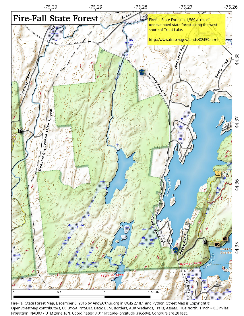 Map: Fire Fall State Forest
