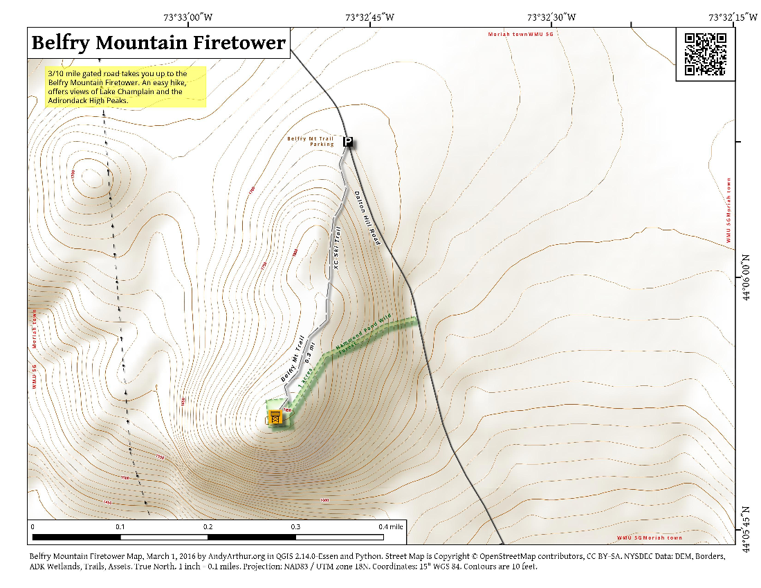 Map: Belfry Mountain Firetower