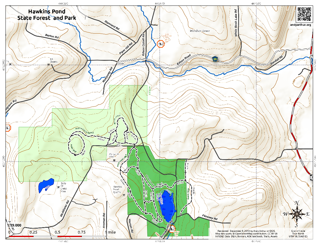 Map: Hawkins Pond State Forest