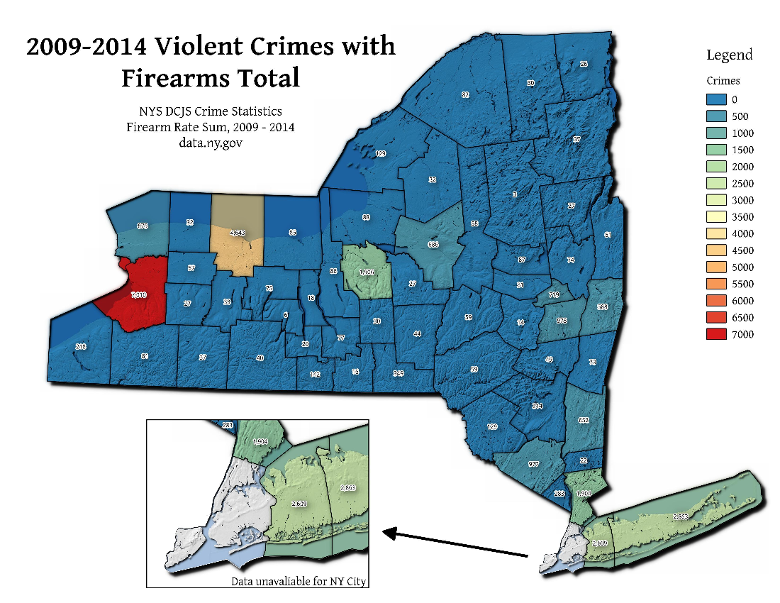Map: 2009 2014 Violent Crimes With Firearms Total