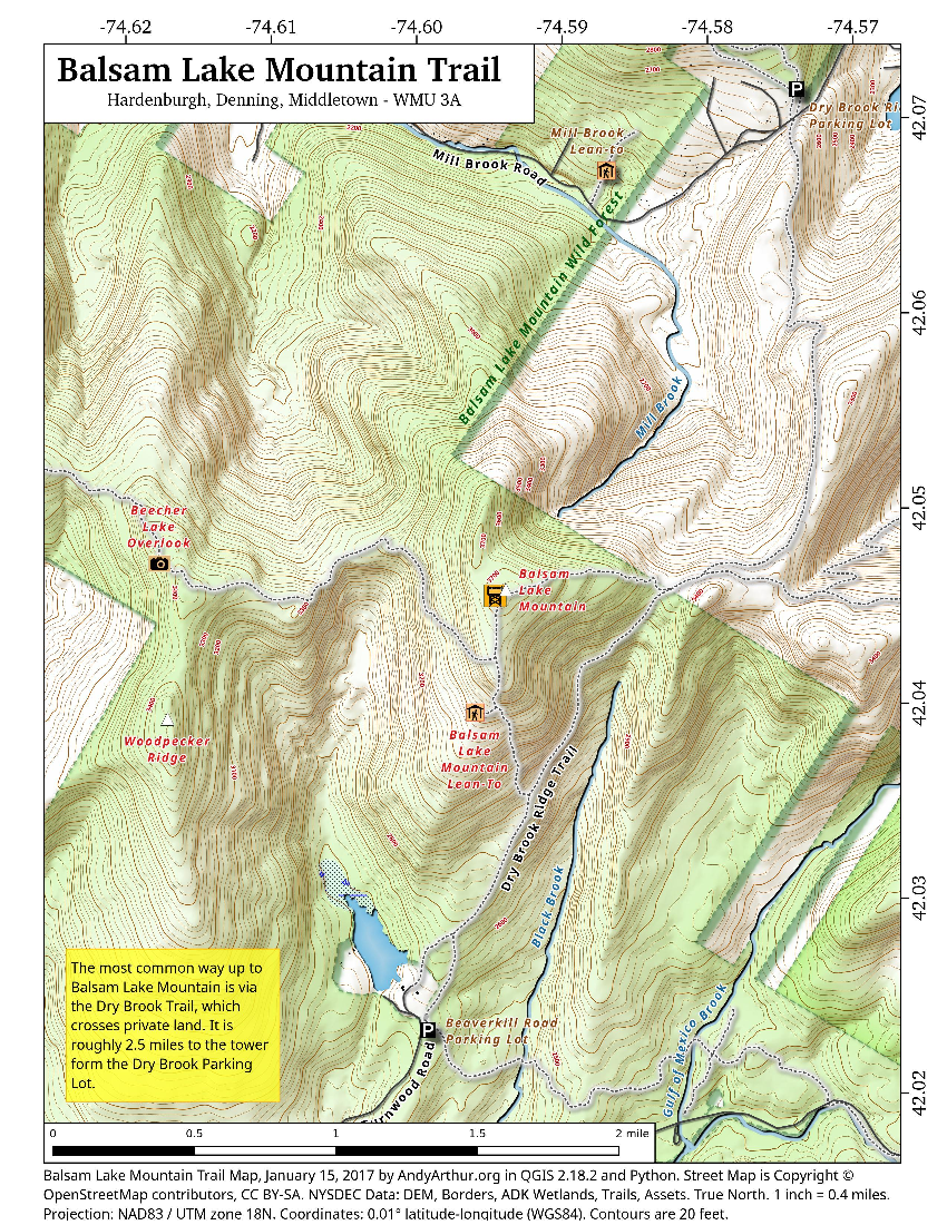 Map: Balsam Lake Mountain Trail