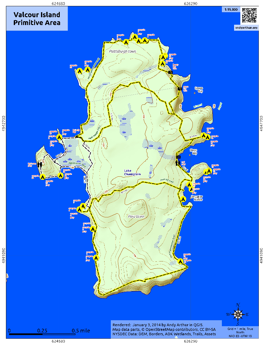 Map: Valcour Island Primitive Area