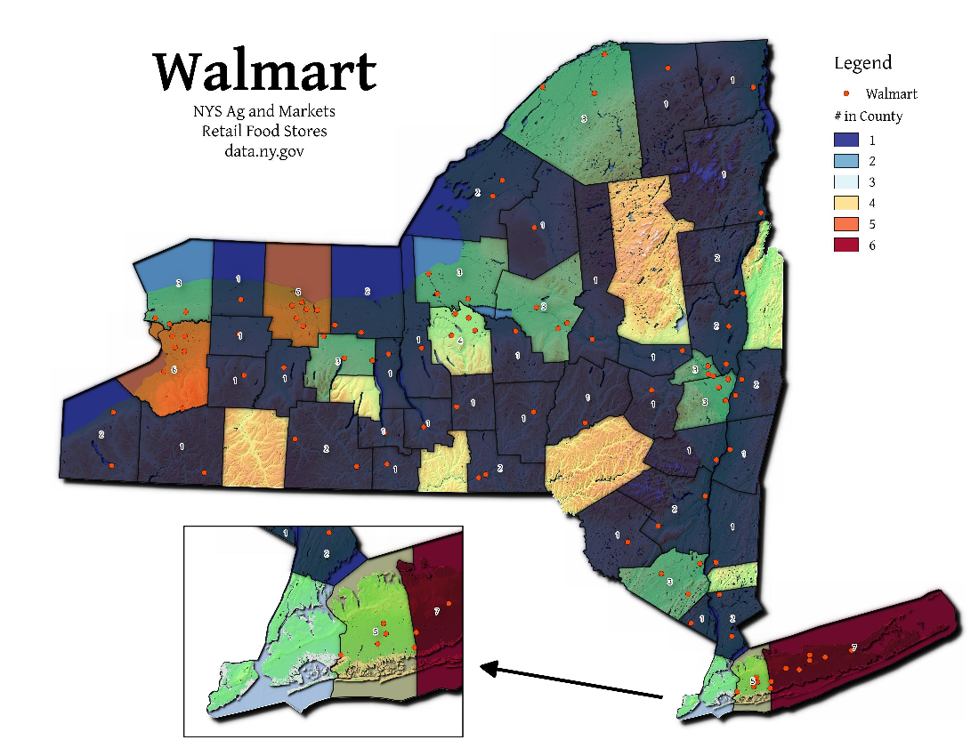 Map: Walmart Locations in NY State
