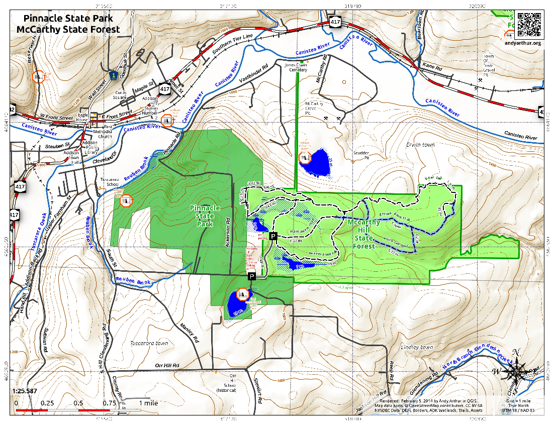 Map: Pinnacle State Park McCarthy State Forest