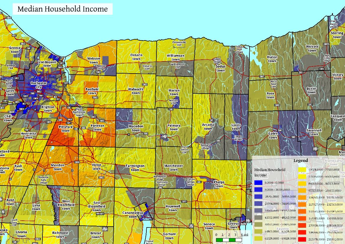 Map: East Of Rochester Median Household Income