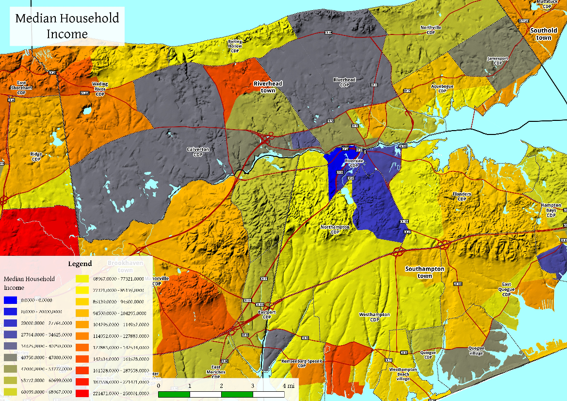 Map: Riverhead Median Household Income