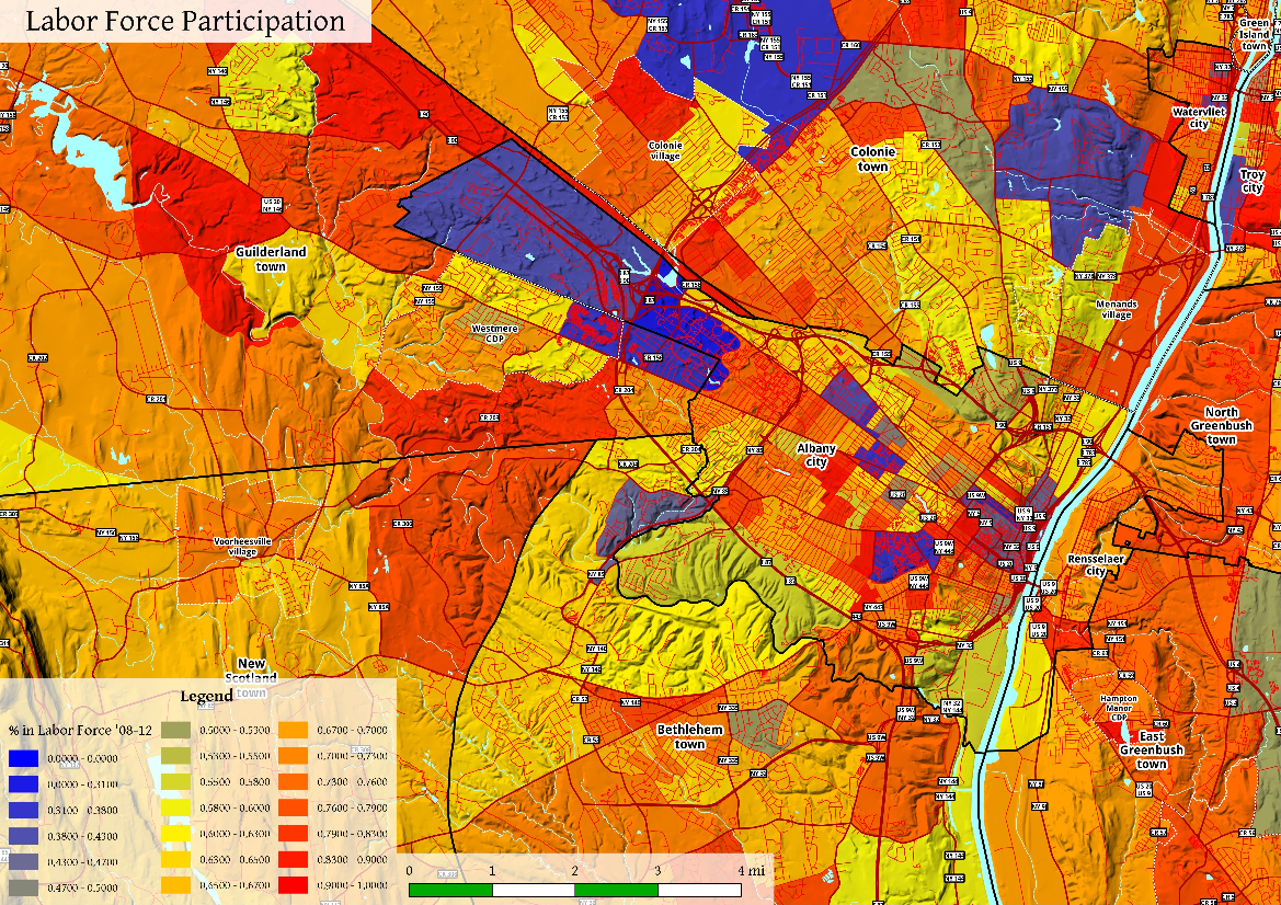 Map: Albany Labor Force Participation