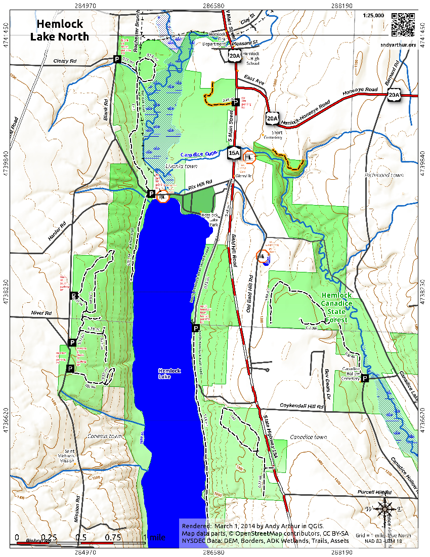 Map: Hemlock Lake – Northern Portion