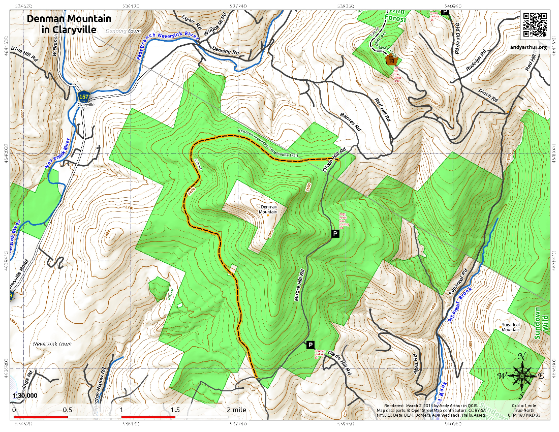 Map: Denman Mountain in Claryville