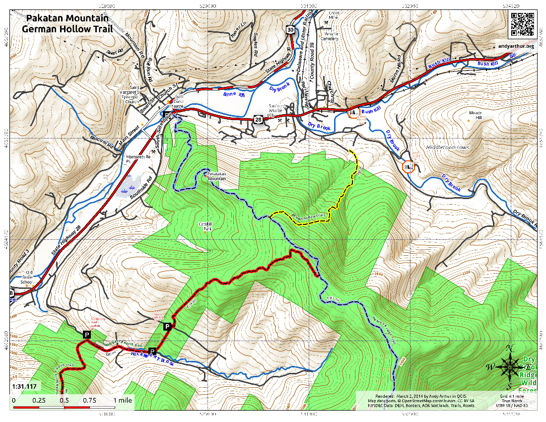 Map: Pakatan Mountain German Hollow Trail