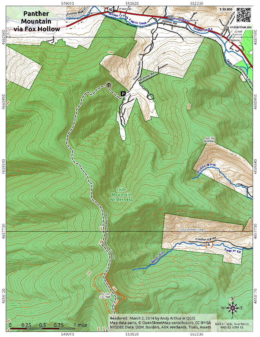 Map: Panther Mountain Via Fox Hollow