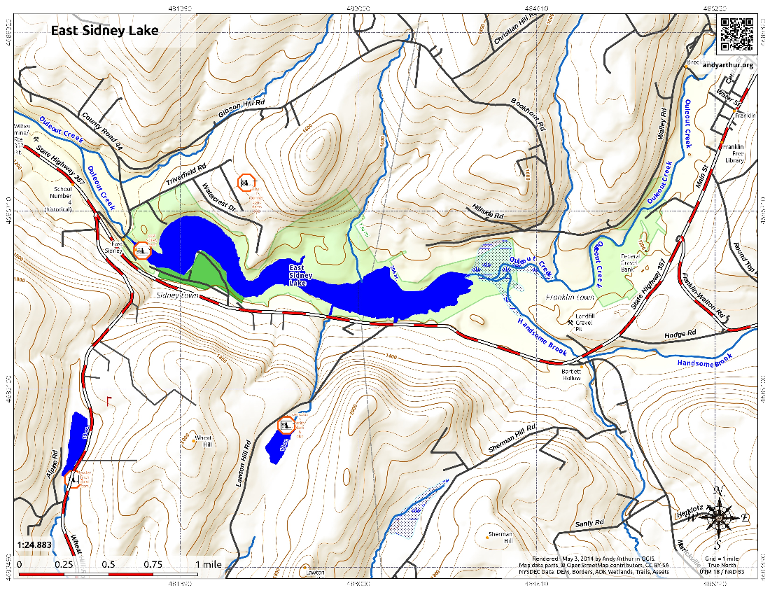 Map: East Sidney Lake