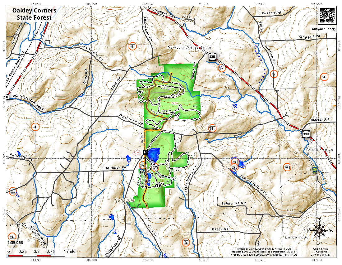 Map: Oakley Corners State Forest