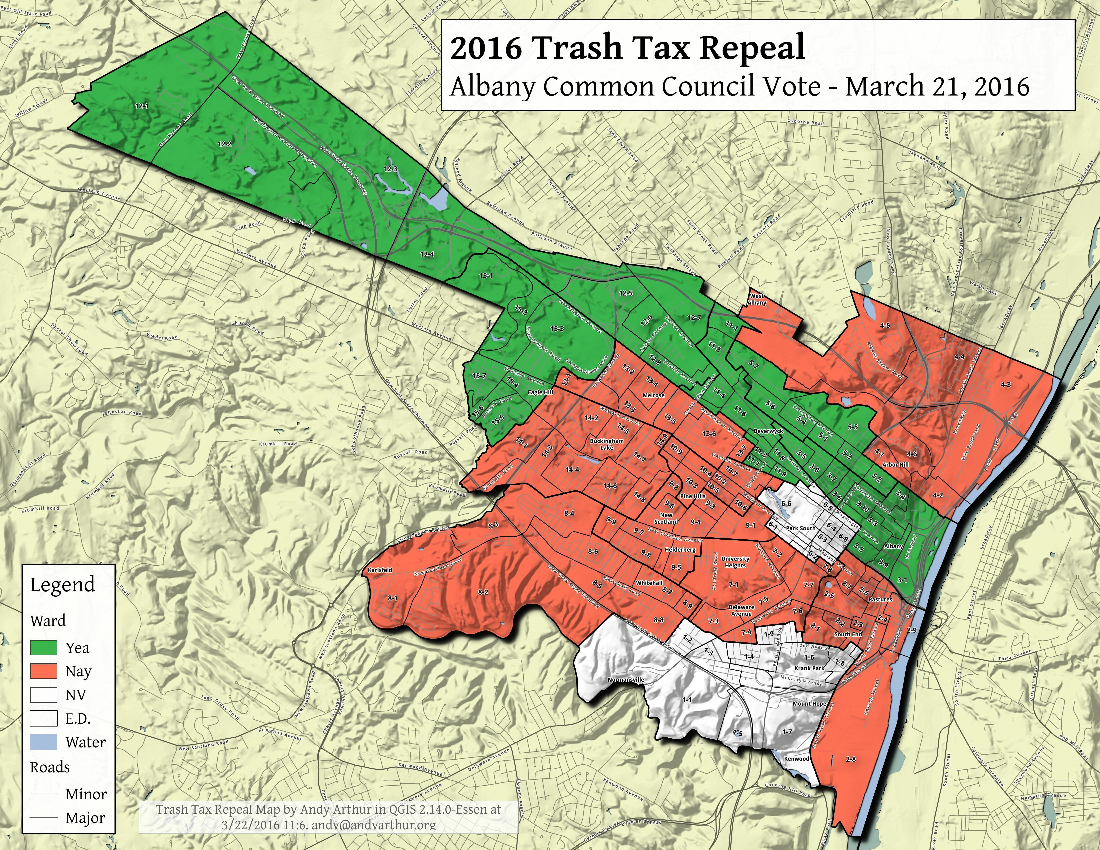 Map: Albany City Trash Tax Repeal