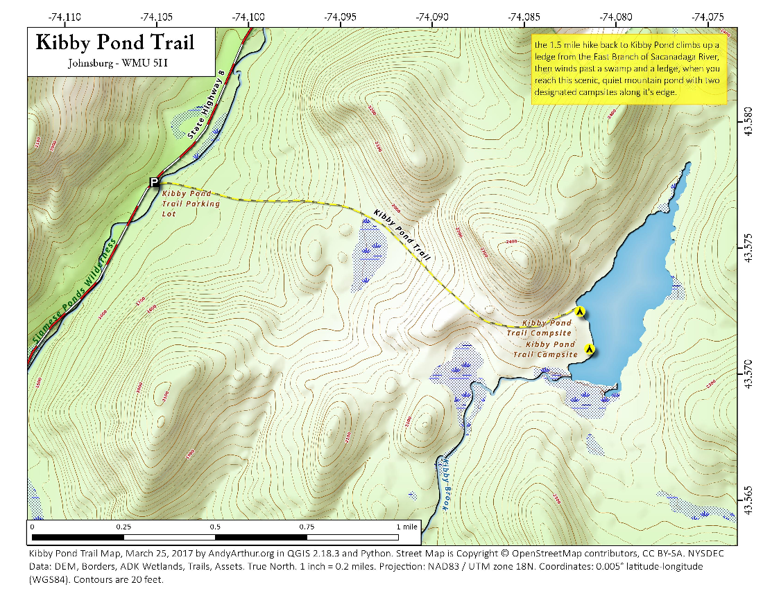 Map: Kibby Pond Trail