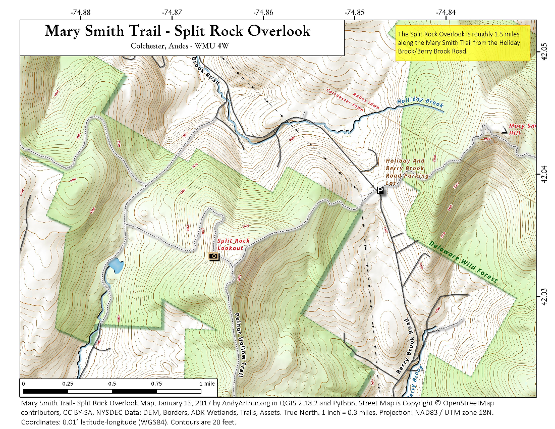 Map: Mary Smith Trail – Split Rock Overlook