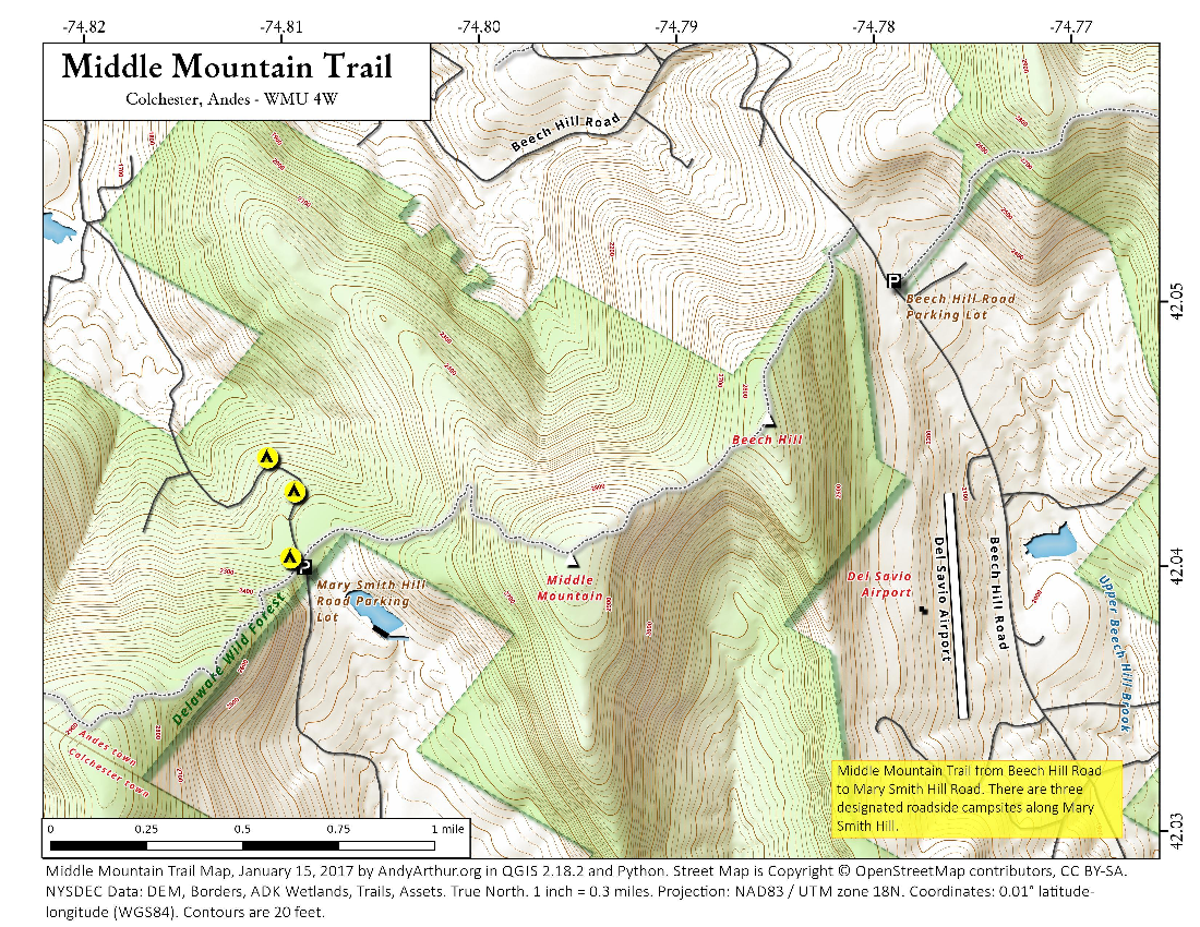 Map: Middle Mountain Trail