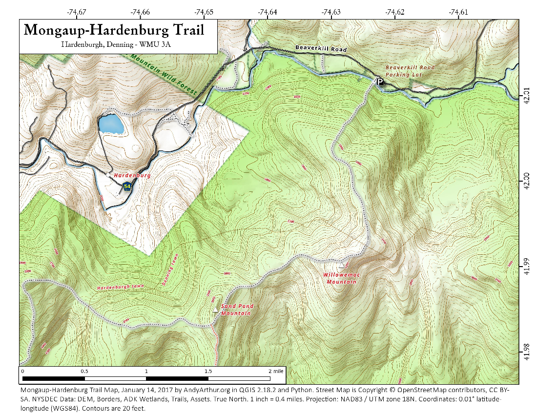Map: Mongaup Hardenburg Trail