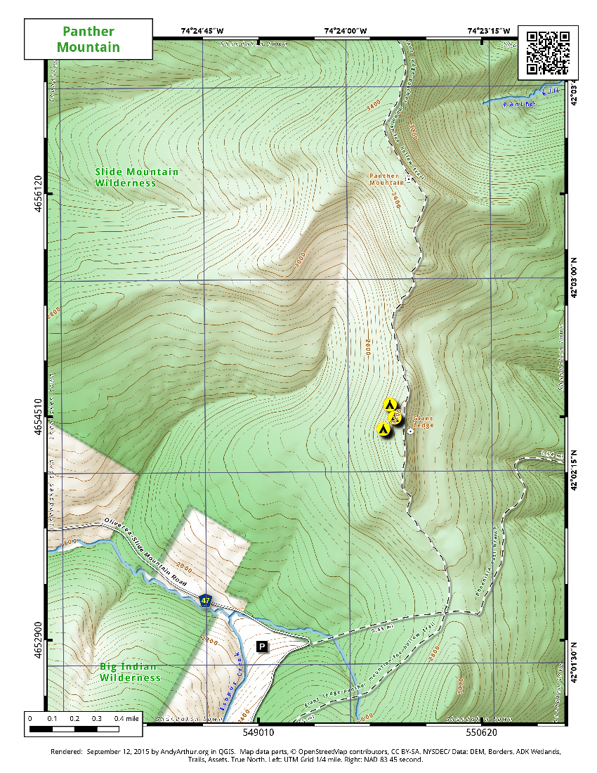 Map: Giant Ledge and Panther Mountain