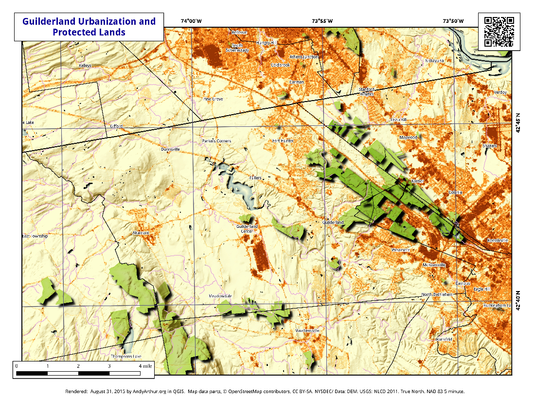 Map: Guilderland Urbanization And Protected Lands