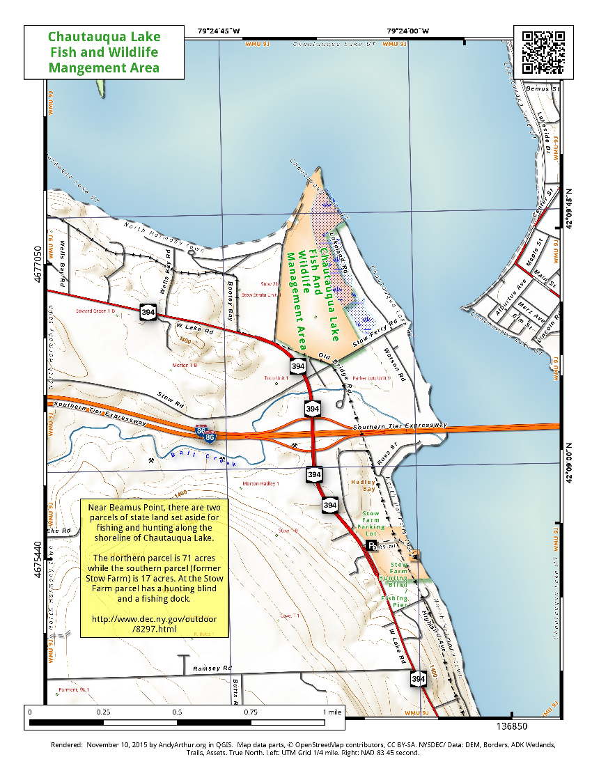 Map: Chautauqua Lake Fish and Wildlife Mangement Areas