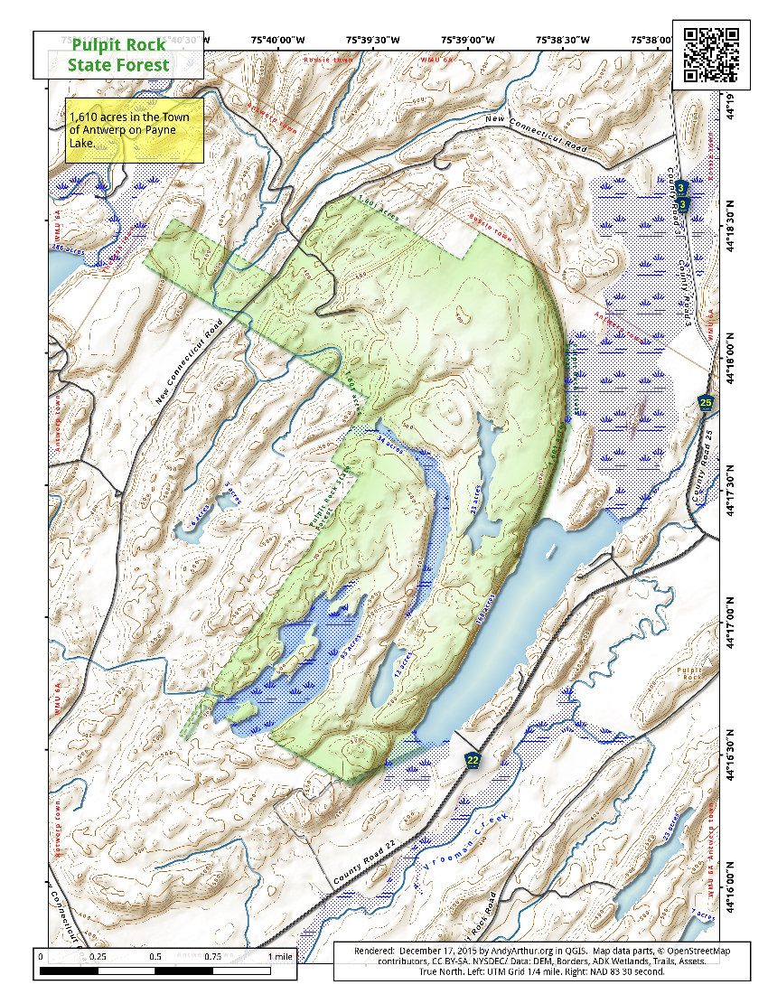Map: Pulpit Rock State Forest