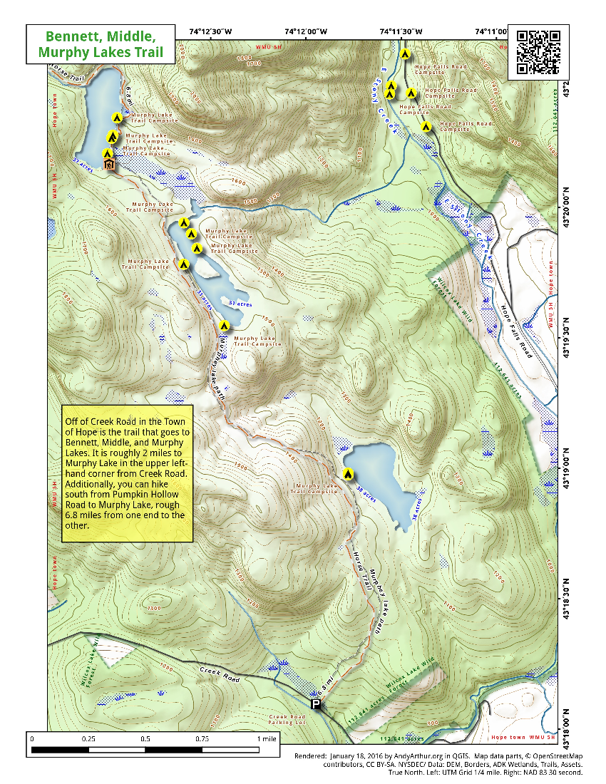 Map: Bennett, Middle, Murphy Lakes Trail
