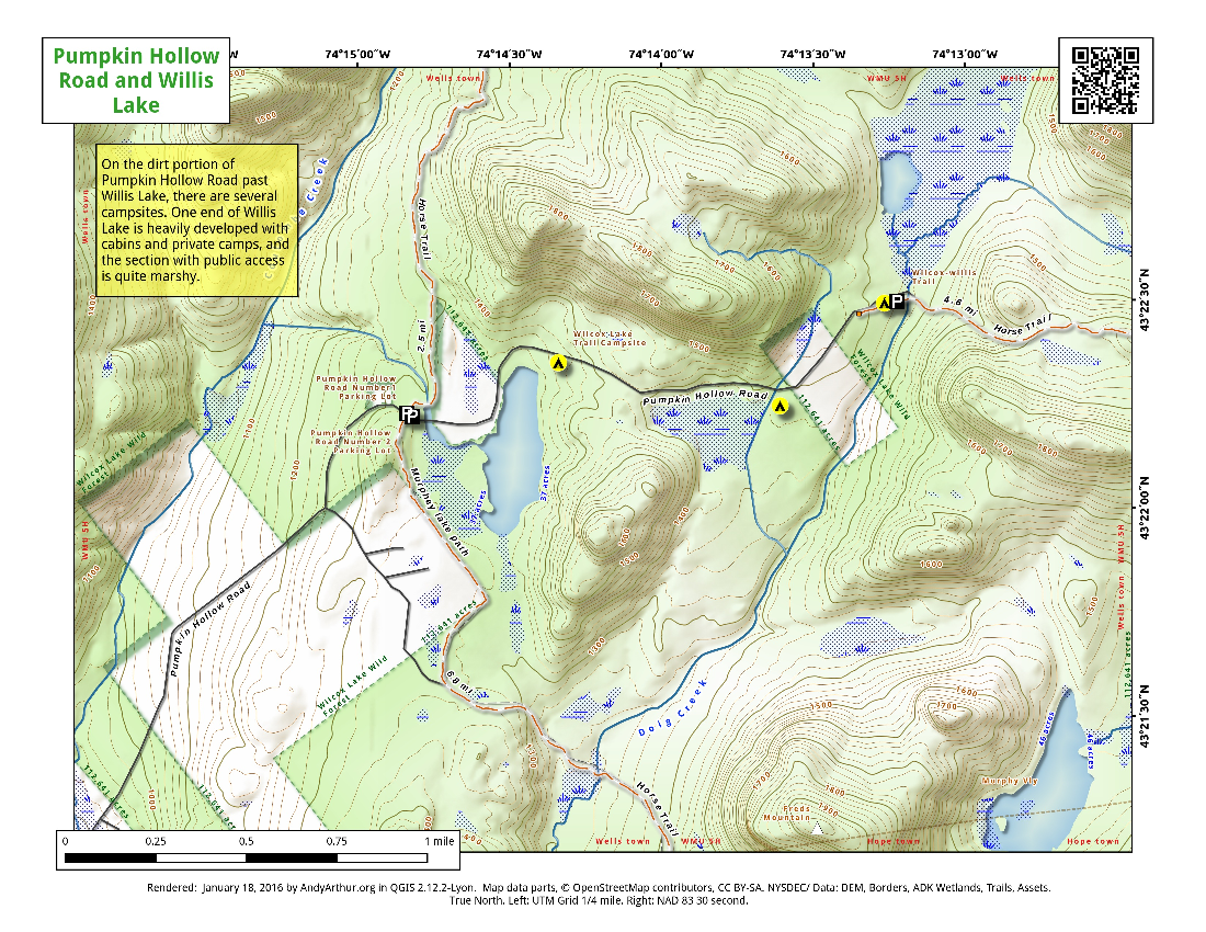 Map: Pumpkin Hollow Road And Willis Lake