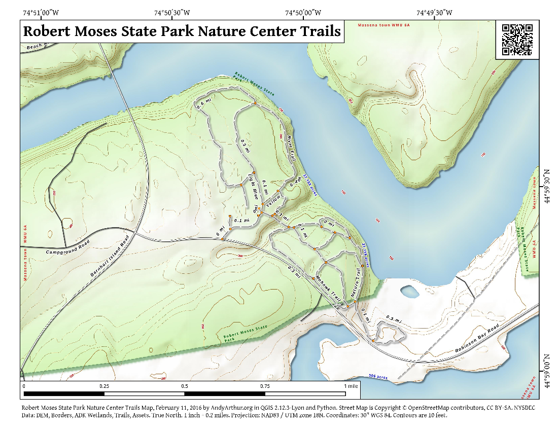 Map Robert Moses State Park Nature Center Trails
