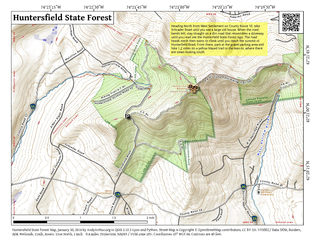 Map: Huntersfield State Forest