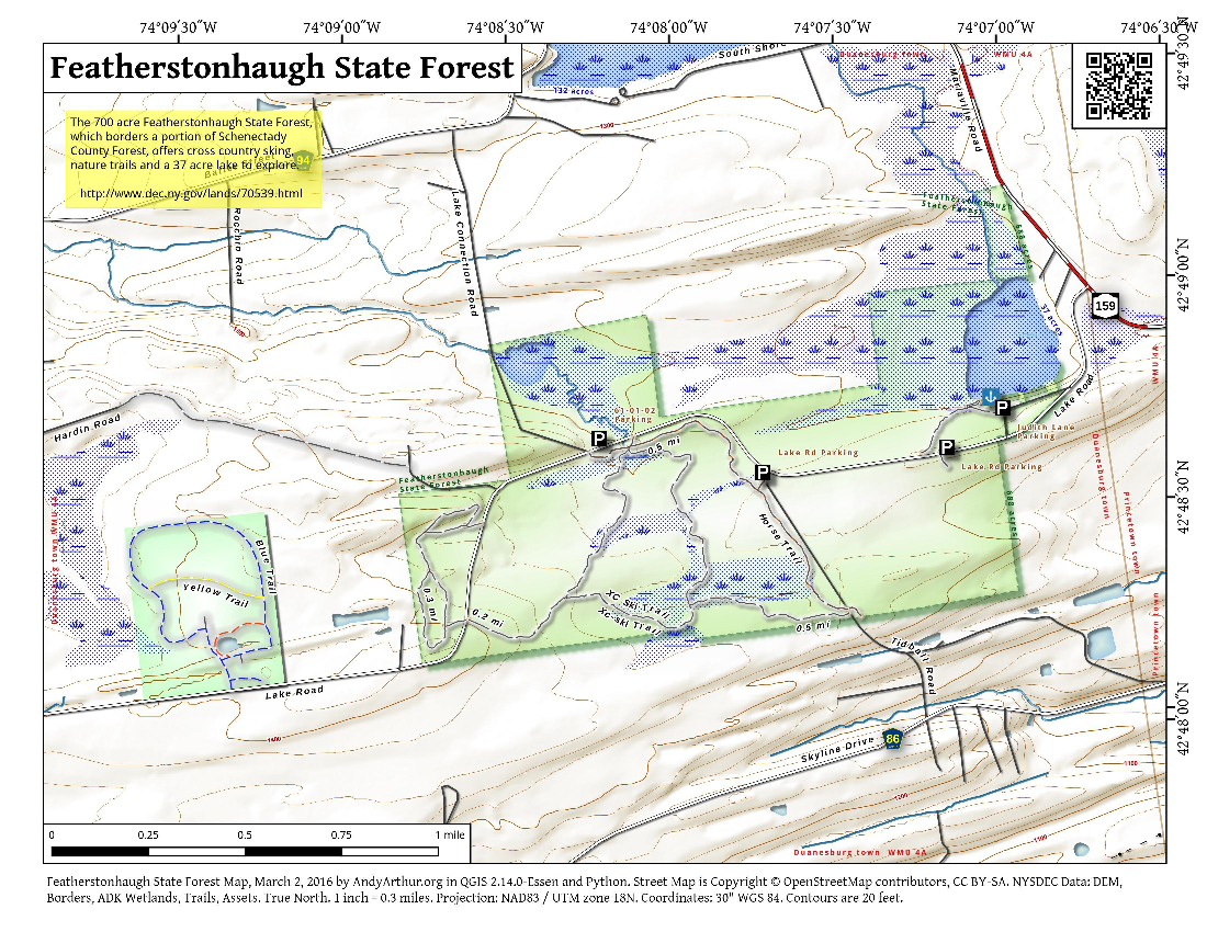 Map: Featherstonhaugh State Forest